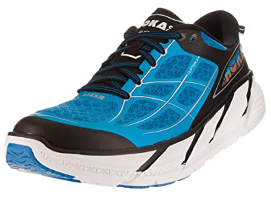 HOKA ONE ONE Men's Clifton 2 Road Running Shoe,Directoire Blue/Flame,US