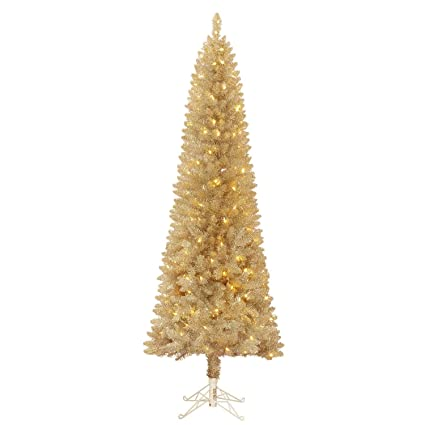 7 Artificial Pre Lit Champagne Evergleam Tinsel Christmas Tree