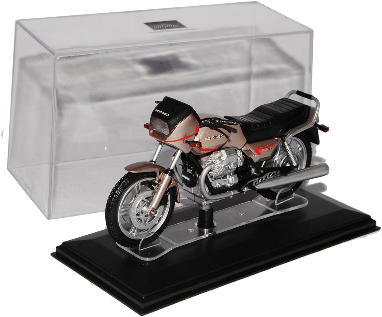 Starline Moto Guzzi 850 T5 Silber Grau mit Sockel und Vitrine 1//24 Modell Motorrad mit individiuellem Wunschkennzeichen