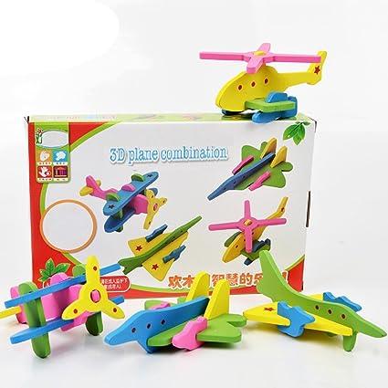 Emob 22 Pcs New Fancy DIY 3D Wooden Plane Combination Blocks Educational Toy