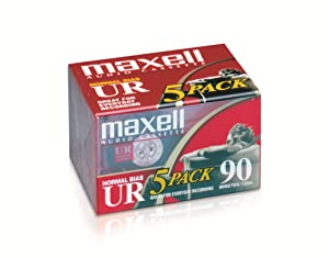 Maxell 108562 Brick PacksMaxell 108562 Low Noise Surface 90 min Recording Time Audio Cassettes, Great for Everyday Recording (Pack of 5) Protective Case Included