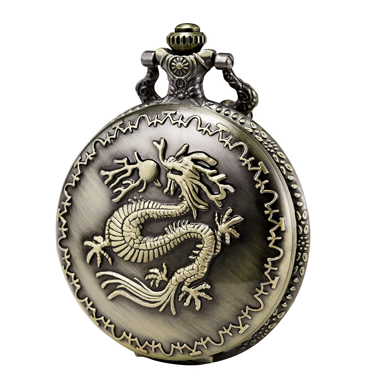 Morfong Unisex Pocket Watch Quartz Dragon Pattern Fob Watches Vintage Bronze with Chani Box