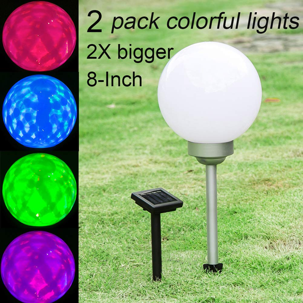 Maggift 8-Inch Multicolor Solar Garden Ball Lights Solar Lights Color Changing Globe Lights for Outdoor, Yard, Patio, Path, Landscape, Home, Automatically Rotate (2 Pack) by Maggift