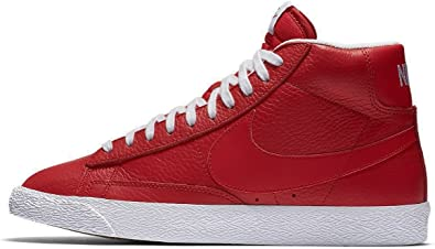 nike blazer mid PRM mens hi top trainers 429988 sneakers shoes (US 8, game red white black 604)