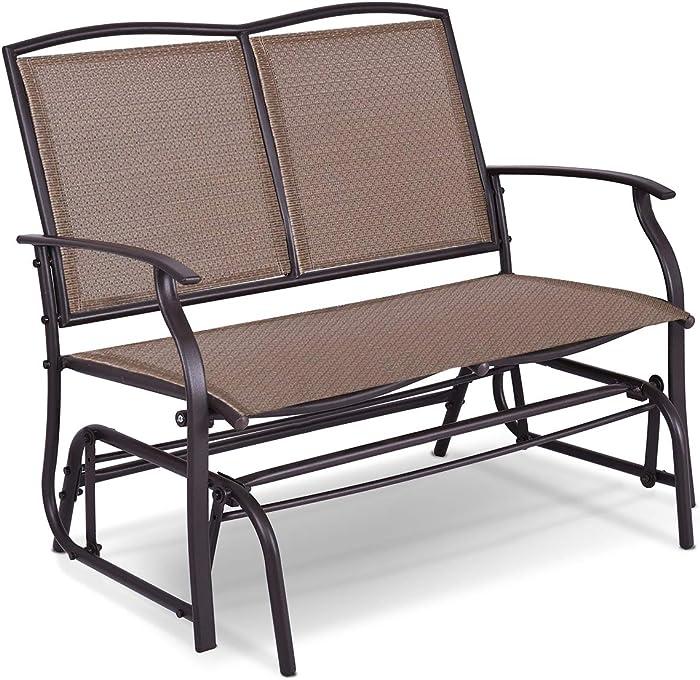 Giantex Patio Glider Textilene and Stable Steel Frame for Outdoor Backyard,Beside Pool,Lawn, Swing Loveseat Patio Swing Rocker Lounge Glider Chair