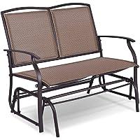 Giantex Patio Glider Stable Steel Frame for Outdoor Backyard,Beside Pool,Lawn, Swing Loveseat Patio Swing Rocker Lounge Glider Chair