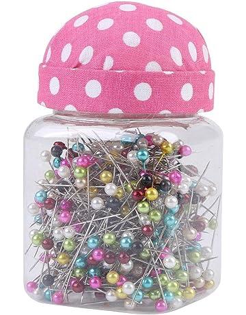 500 Unids/Botella Pernos Rectos, Perlas Agujas de Acolchado Pines en Tela Rosa Cojín