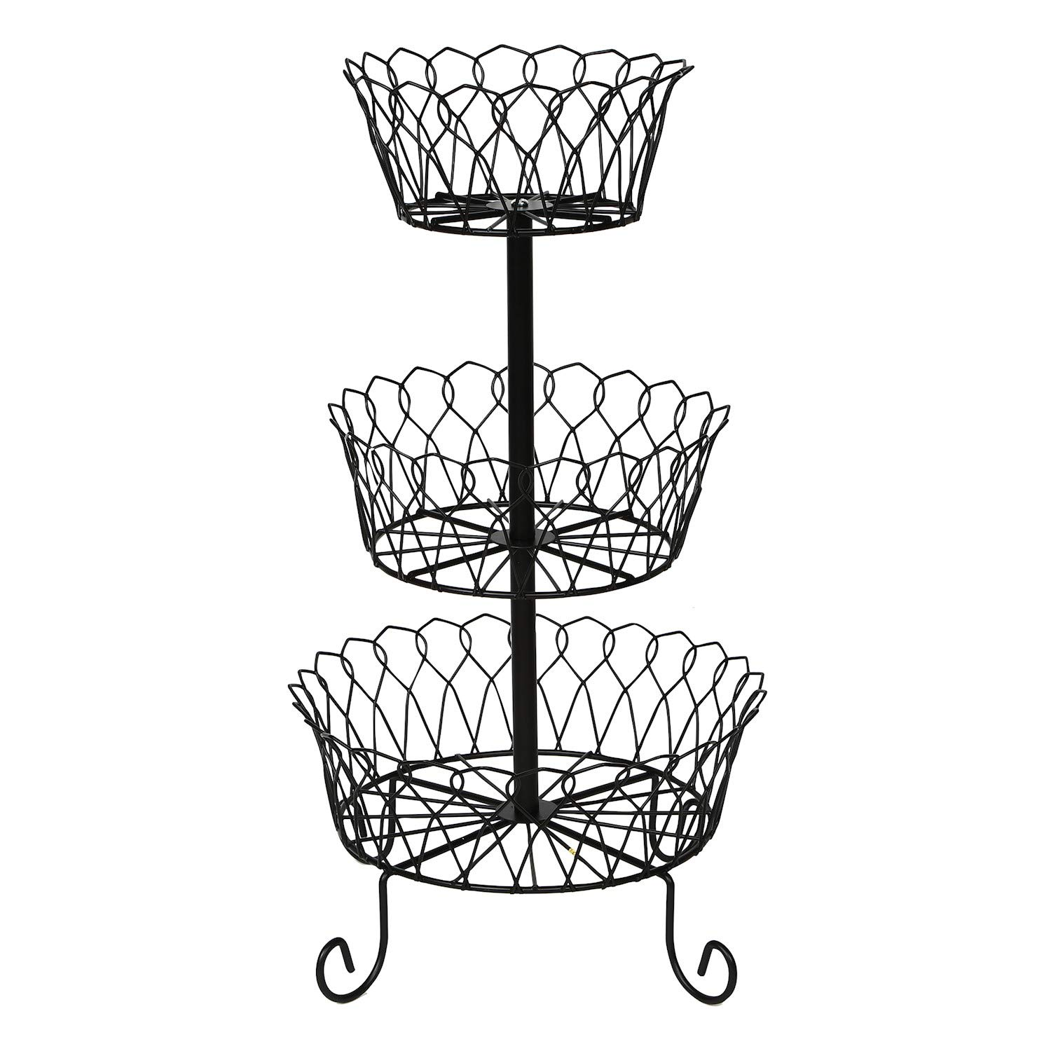 Home District 3-Tier Iron Fruit Basket Stand - Countertop Wire Food Storage