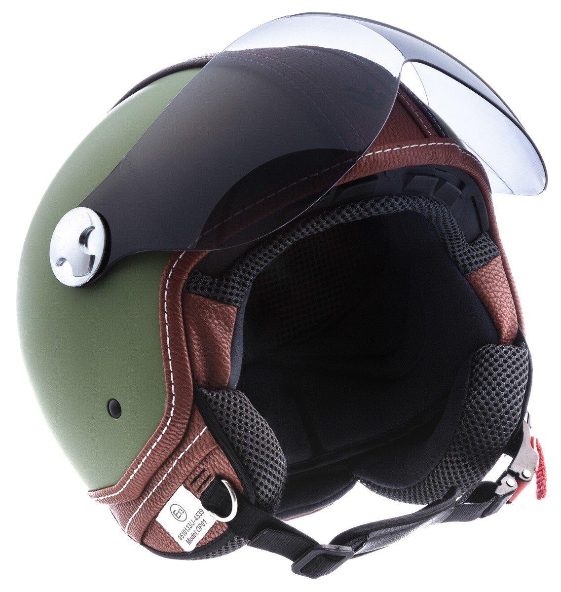 "Armor · AV-84 ""Vintage Deluxe"" · Open Face Helmet · Pilot Motorbike Scooter Motorcycle Retro Jet · ECE certified · Visor · Click-n-Secure™ Clip · Carrier Bag · S (55-56cm)"