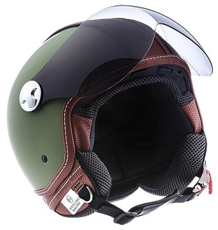 "Armor · AV-84 ""Vintage Deluxe Green"" (green) · Casco moto Demi Jet · Helmet Urbano Scooter Urban Retro motocicleta · ECE certificado · Visor · ..."