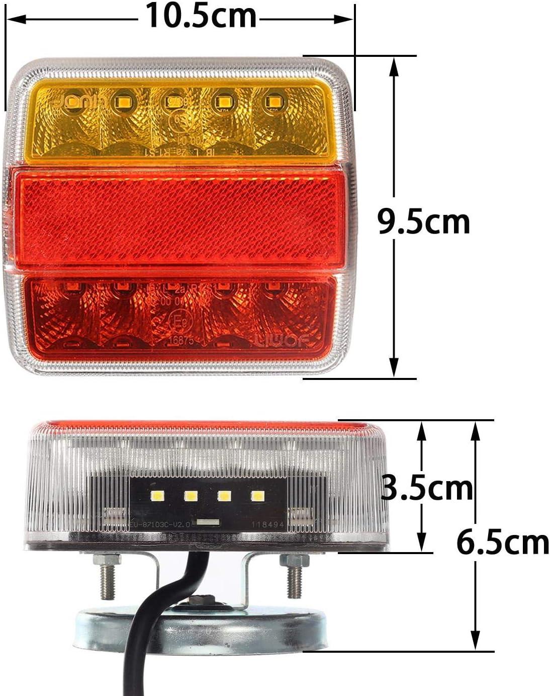 2X 14 luci Posteriori per rimorchio a LED Lampada da 12 V per fanale Posteriore Cavo da 7,5 m con Spina a 7 Pin indicatore di direzione Partsam Kit luci Posteriori per rimorchio con Cavo Magnetico