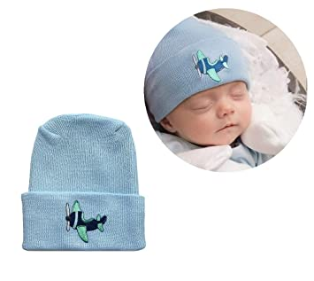 0b5705b93df4 Image Unavailable. Image not available for. Color  Newborn Baby Boy Blue  Airplane Hospital Hat ...