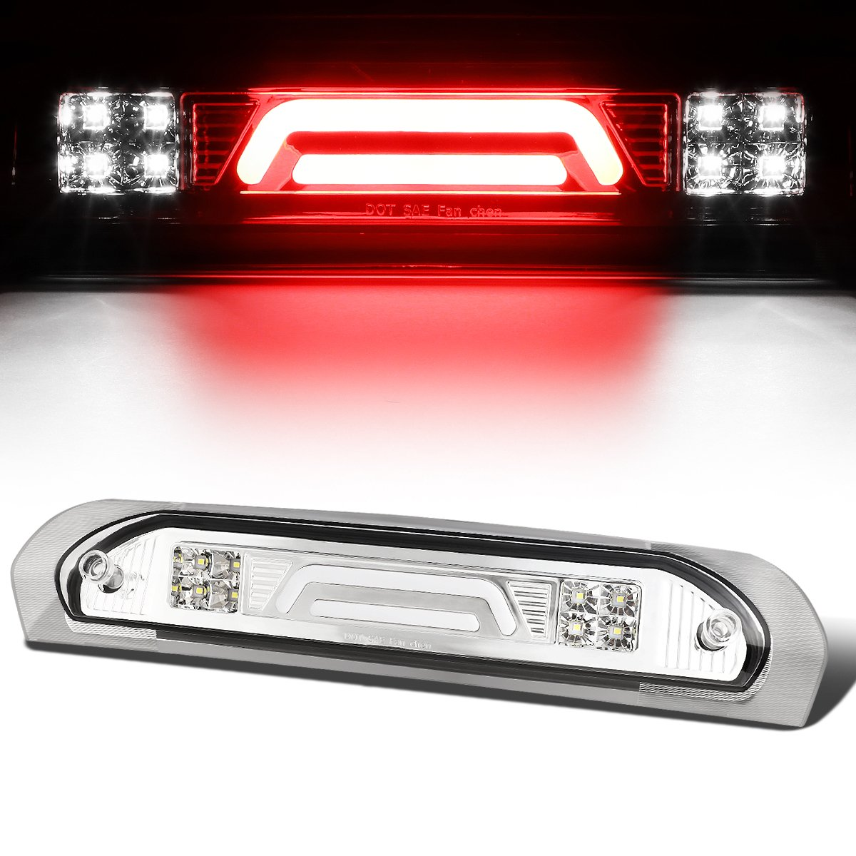 For 02-09 Dodge RAM Truck All 3D LED Bar 3rd Third Brake Light Rear Cargo Lamp (Black/Clear) Auto Dynasty