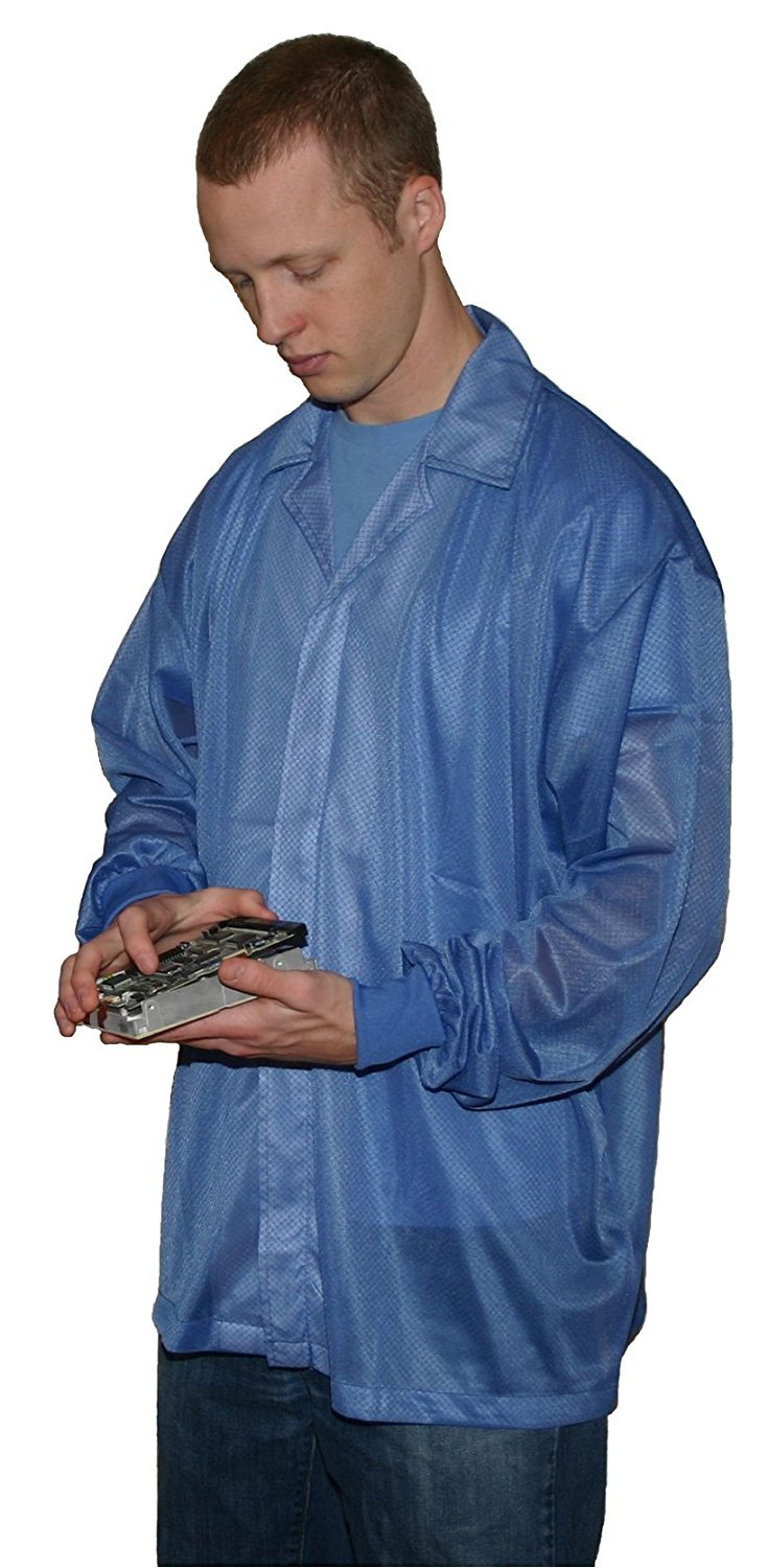 StaticTek Full Sleeve Knit Cuff ESD Jacket | Anti-Static Lab Coat | Certified Level 3 Static Shielding | Light Weight | ESD Smocks with High ESD Protection | 2XLarge | Light Blue | TT_JKC8806LB