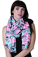 Women's Exotic Birds Hearts Flowers Multicolor Scarf