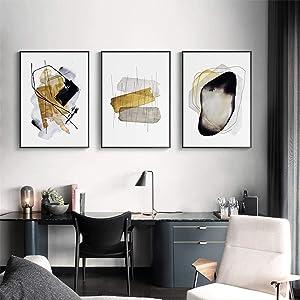 "YQLKC Modern Minimalist Wall Art Canvas Painting Abstract Golden Block Art Poster Print Wall Decor for Living Room Decor 19.6""x27.5""(50x70cm) x3 Frameless"