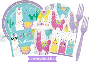 Llama Party Supplies and Decorations - Llama Plates Cups Napkins & Forks for 16 People - Perfect Llama Birthday Party Decorations and Llama Birthday Party Supplies!