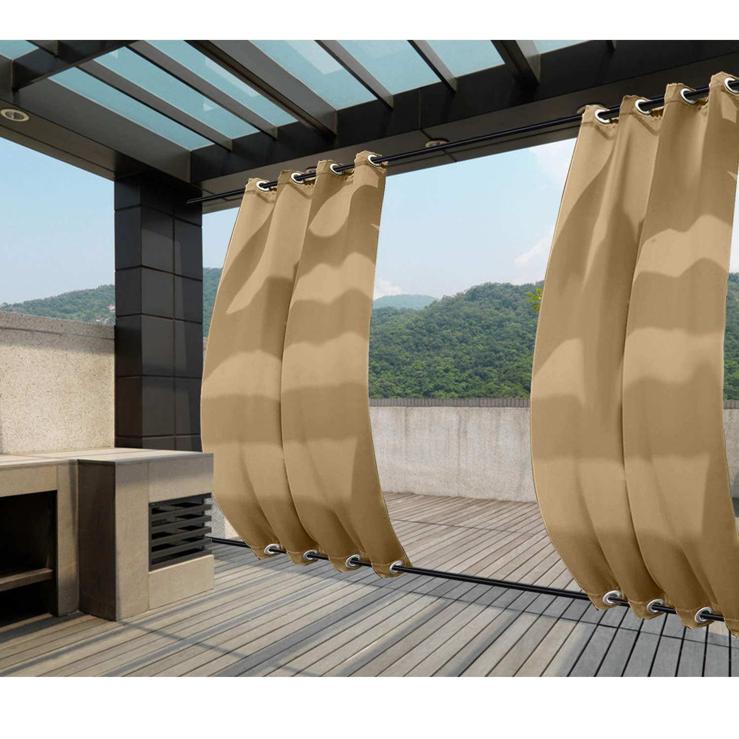 Macochico Windproof Sun Block Privacy Protection Noise Buffer Wheat Outdoor Curtains Panels Grommet at Top and Bottom Water Resistant Drapes for Patio Gazebo Garden 100Wx 84L (1 Panel)