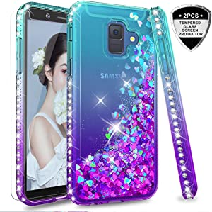 """Samsung Galaxy A6 case with Tempered Glass Protector [2 Pack] for Girls Women, LeYi Glitter Luxury Bling Diamond Quicksand Liquid Clear TPU Protective Phone Case for Samsung A6 2018 (5.6"""") Teal/Purple"""