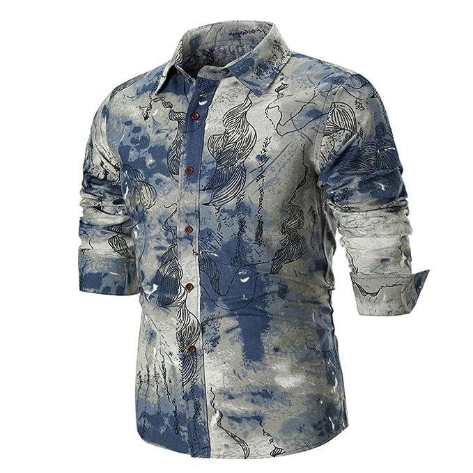 ALIKEEY Blusa Superior De La Camisa Manga Larga Delgada Ocasional del Verano Los Hombres Personalidad Camisa con Estampado Delgado Cahk-CS A para Hombre ...