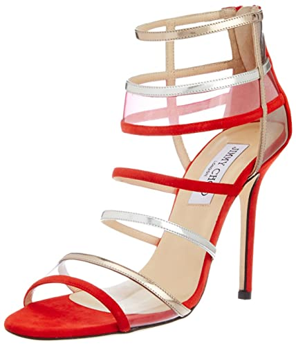 20ec191f3a34 Vogue Jimmy Choo Women s Red Leather Fashion Sandals - 6 UK  Buy ...