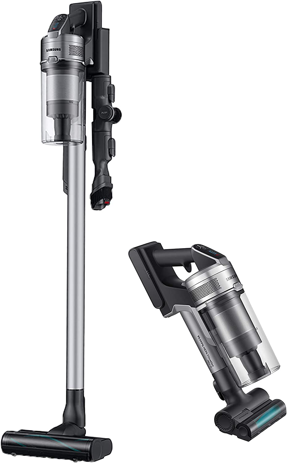 Samsung Jet 75 Complete Stick Lightweight Cleaner with Removable Long Lasting Battery and 200 Air Watt Suction Power Cordless Vacuum with 180° Swivel Brush (VS20T7536T5), Titan Silver