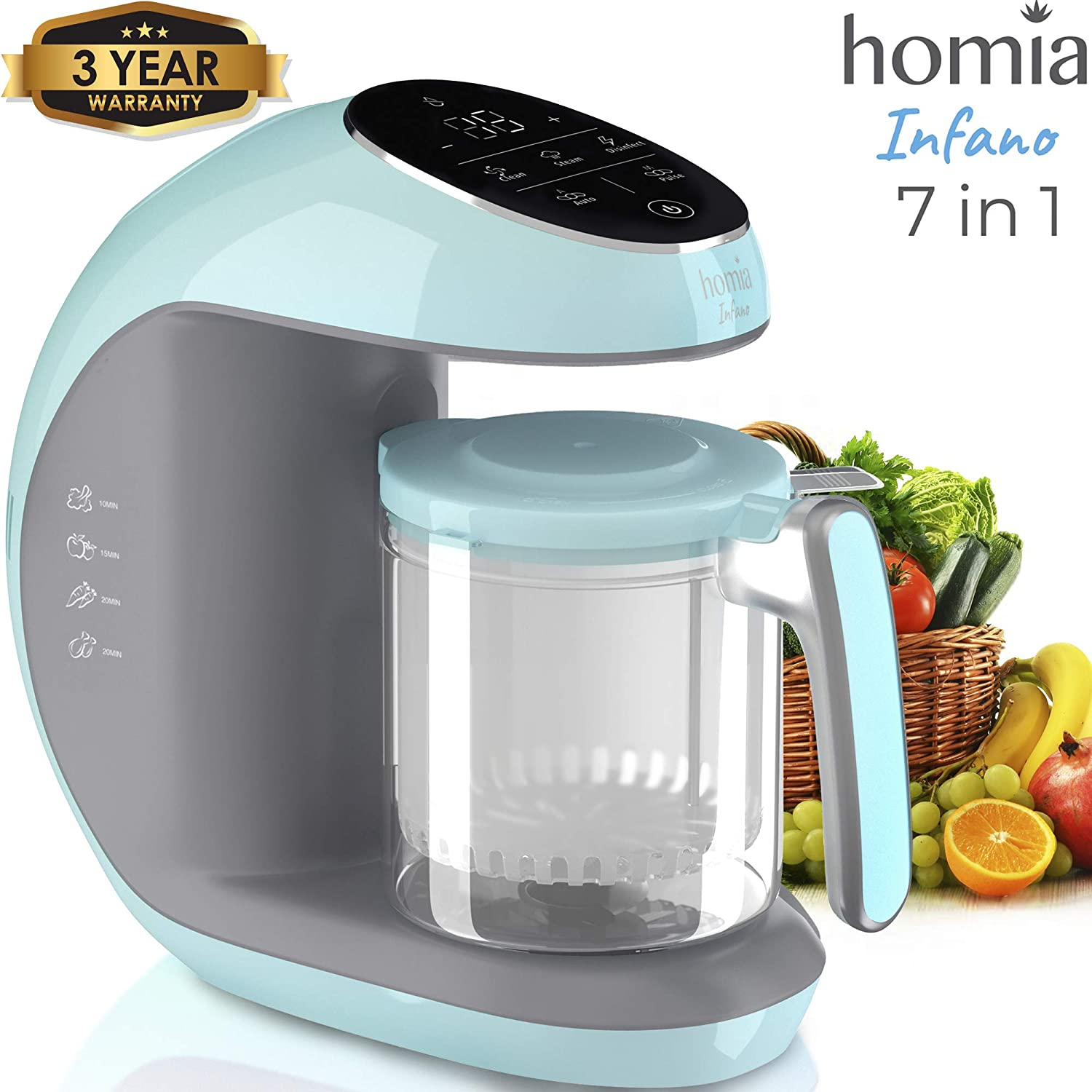 Baby Food Maker Chopper Grinder - Mills and Steamer 7 in 1 Processor For Toddlers With Steam, Blend, Chop, Disinfect, Clean Function, 20 Oz Tritan Stirring Cup, Touch Control Panel, Auto Shut-Off, 110V Only HOMIA Infano