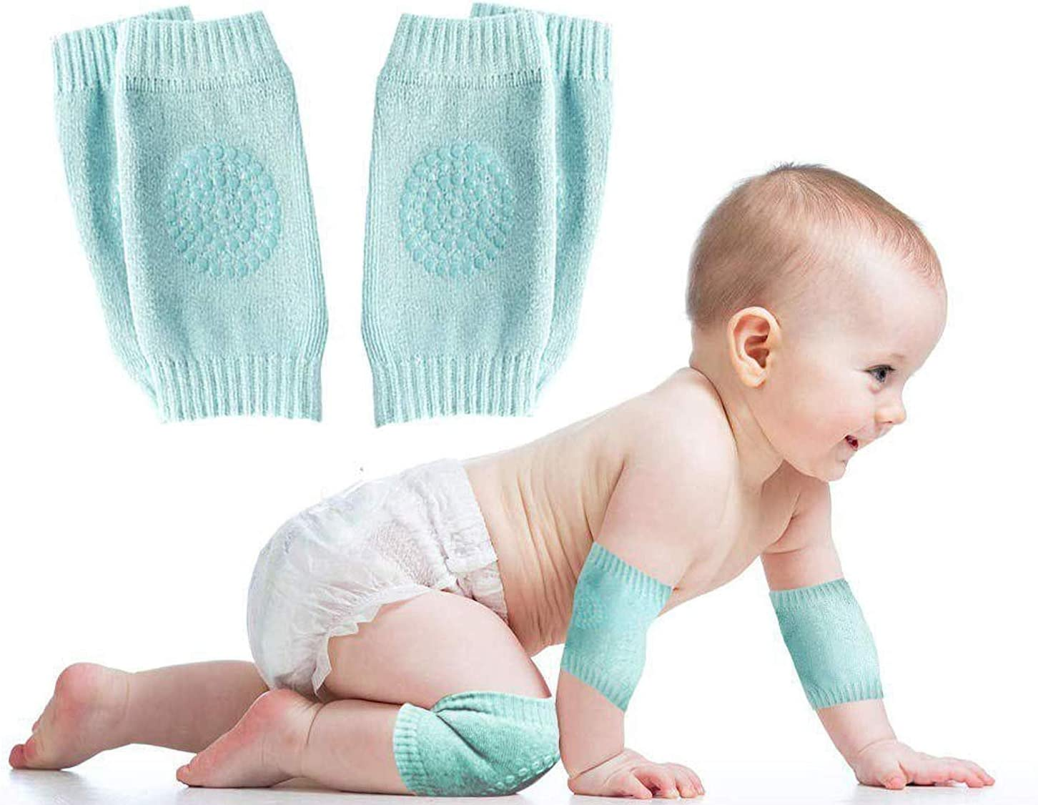 De feuilles 5 Pairs Baby Anti-Slip Knee Pads for Crawling Stretch Adjustable Protector Kneepads for Toddler Girls Boys