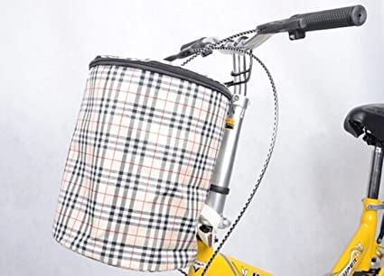 Nueva delantera para bicicleta plegable manillar cesta de almacenamiento de lona Carrier), color beige