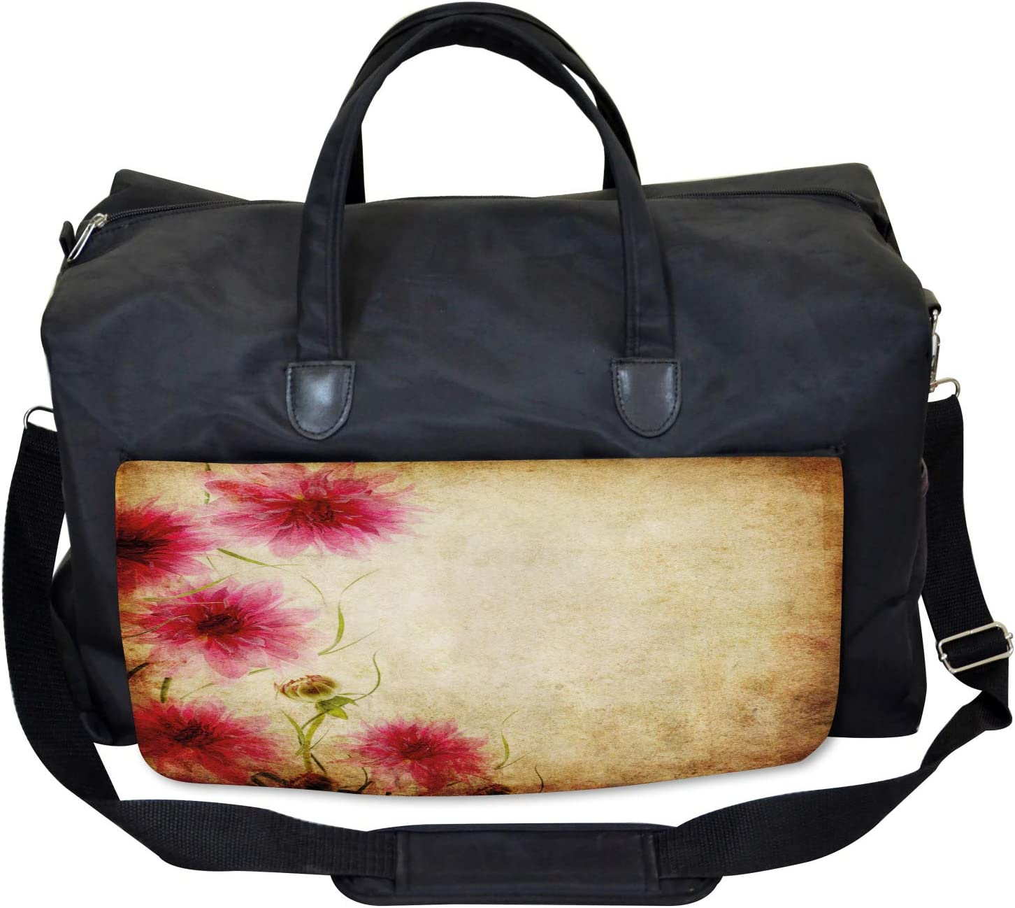 Ambesonne Floral Gym Bag Large Weekender Carry-on Retro Flowers Grungy Old
