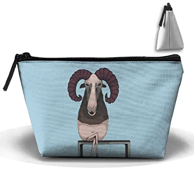Unisex Stylish And Practical Big Horn Antelope Deer Sit On A Bench Trapezoidal Storage Bags Handbags