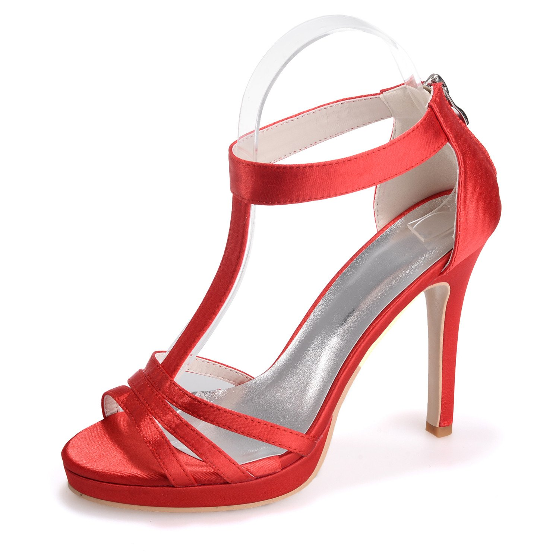 Cinta Zapatos Tacones Grandes Qingchunhuangtang Tallas De Satén T66wqU