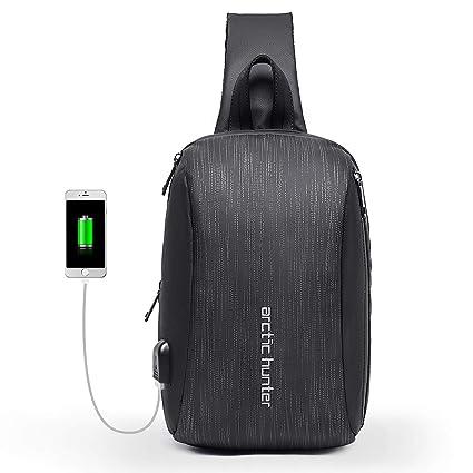 Mochila de Hombro Bolso de Hombro Impermeable Crossbody Bolsos Cruzados con Bolsa Aislante con Cargador USB Bolsa Ciclismo Senderismo Cebra