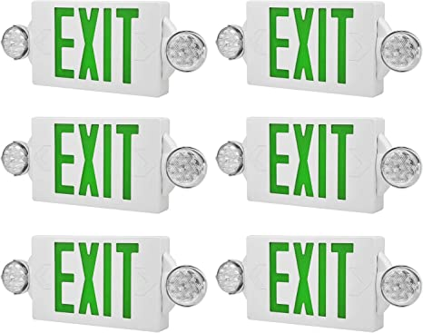 6 Packs of LED Green Exit sign Emergency Light Combo with Battery Back-Up