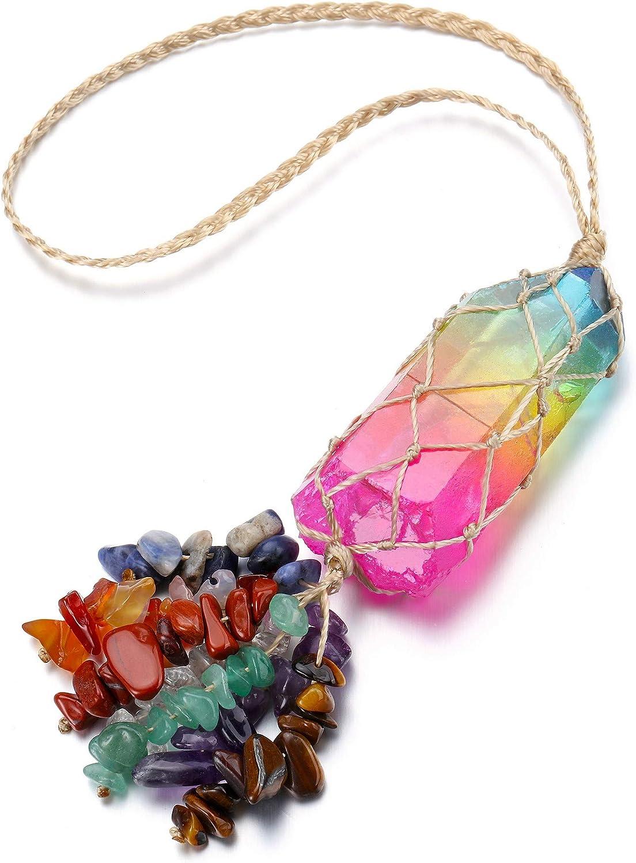 GEHECRST Reiki Irregular Raw Clear Quartz Rainbow Hanging Ornament 7 Chakra Healing Crystal Gemstone Tassels Feng Shui Decor for Wall, Window, Home, Car Rear View Mirror, Meditation, Luck, Protection