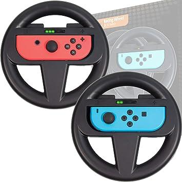 Orzly Pack DE Dos Volantes Usar con los Joy-con Switch – Pack de Volantes Negros [con luz indicando Jugador] para Usar con los mandos Joy-con de la Nintendo Switch: Amazon.es: Electrónica