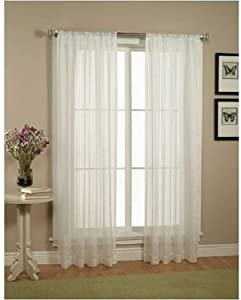 Empire Home Solid White Sheer Voile Curtain Window Panel Sale! (63