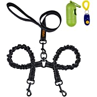 Dual Dog Leash,Double Dog Leash,360°Swivel No Tangle Double Dog Walking & Training Leash,Comfortable Shock Absorbing Reflective Bungee for Two Dogs with waste bag dispenser and dog training clicker