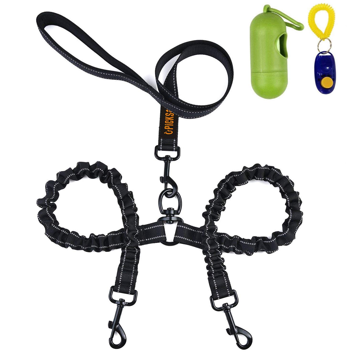 Bungee Leash Fit Large & Medium Dogs Dual Dog Leash, Double Dog Leash,360° Swivel No Tangle Double Dog Walking & Training Leash, Comfortable Shock Absorbing Reflective Bungee for Two Dogs with waste bag dispenser and dog training clicker