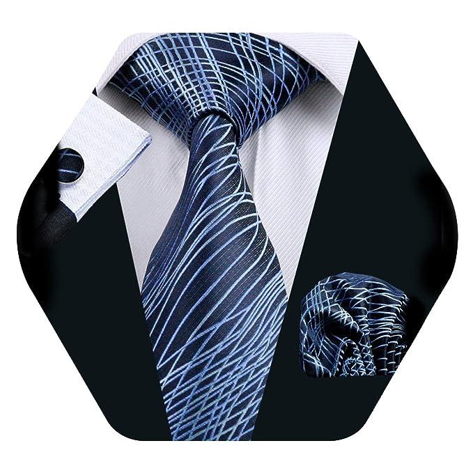 Barry.Pañuelo de bolsillo de corbata de seda azul Wang para hombre Corbata a rayas con gemelos