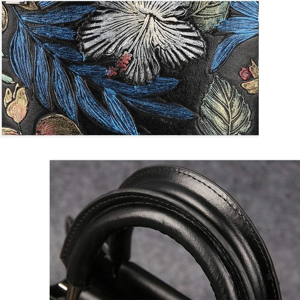 Color : Black, Size : 271219cm KJVHJN Vintage Hand-Painted Flowers Diagonal Shoulder Bag Original Design Quality Leather Handbag Tote Bag