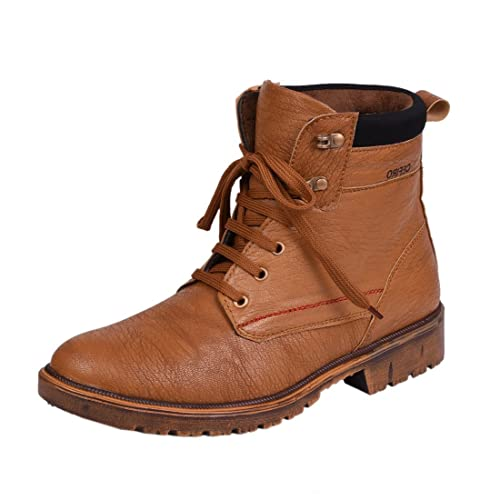 Knoos Mens Wav911-Tan Synthetic Leather Boot-(WAV911-TAN-10)