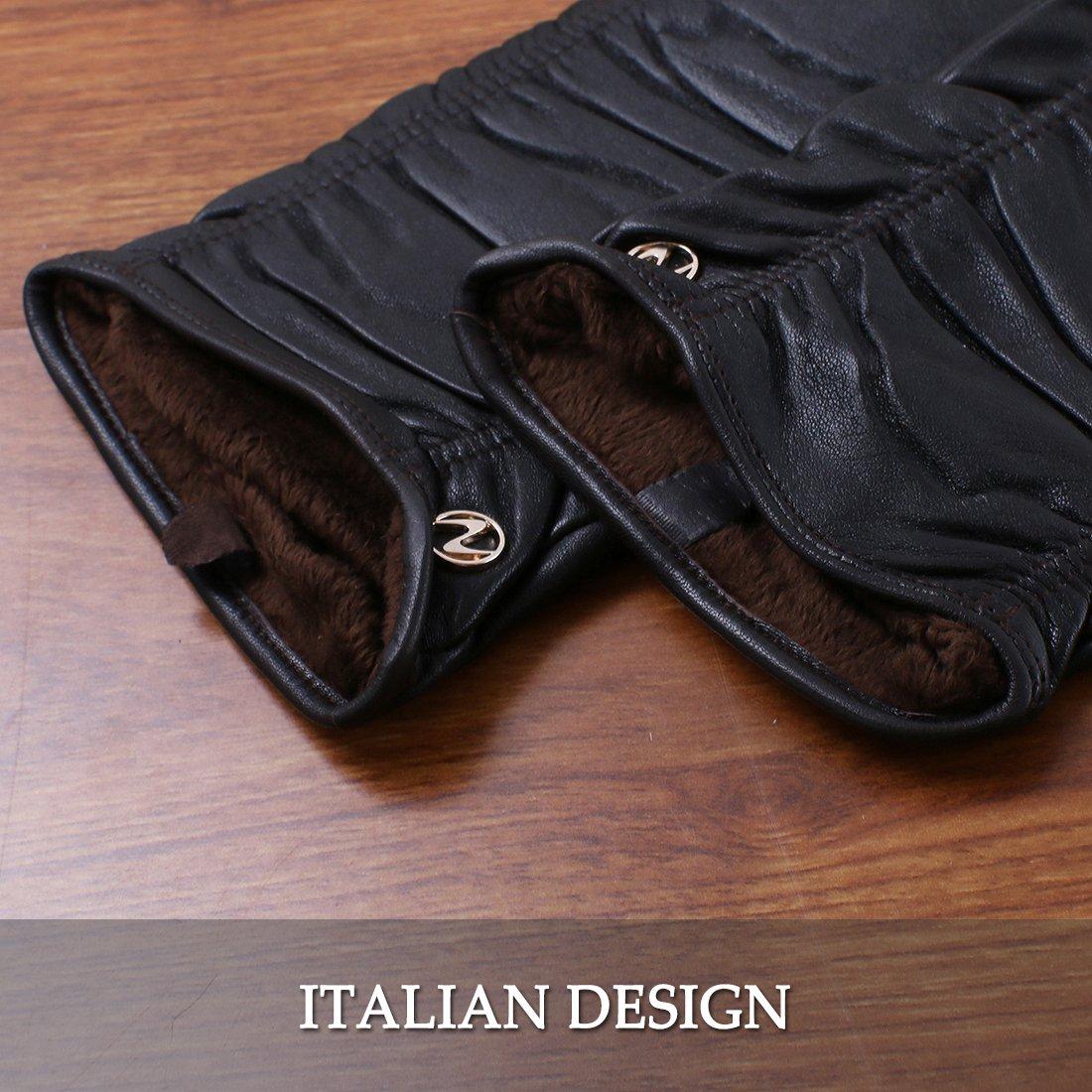 Nappaglo donne italiane di pelle guanti di pelle inverno caldo semplice lungo vello fodera guanti touchscreen o non touchscreen