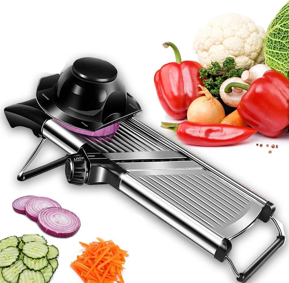 Adjustable Mandoline Food Slicer - Professional Handheld Stainless Steel Kitchen Julienne Cutter for Slicing Food Vegetables Fruit Chip French Fry