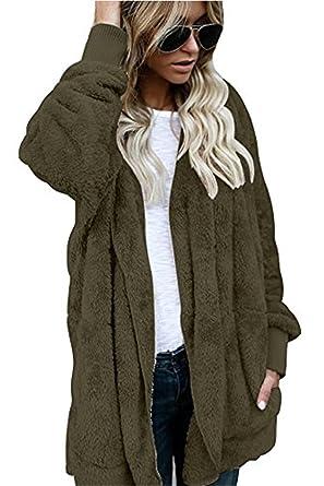 Yanekop Womens Winter Open Front Loose Hooded Fleece Sherpa Jacket ...
