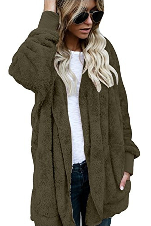 Yanekop Womens Winter Open Front Loose Hooded Fleece Sherpa Jacket Cardigan Coat(Army Green,XL)