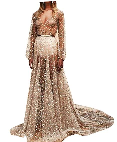 b01484cf HTOOHTOOH Womens Long-Sleeves Floor Length V-Neck Sparkly Sequins See  Through Gown Dress