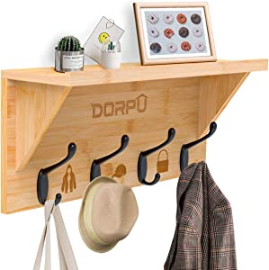 DORPU Coat Hooks Rack, Heavy Duty Shelves for Wall with 4 Double Metal Hooks Wall Hat Rack for Corridors Living-Room Kitchen Mudroom Offices (Bamboo)