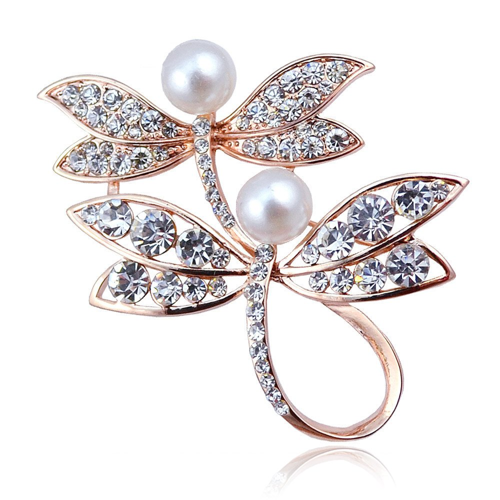 Colorful Double Dragonflies Simulated Pearls Crystal Animal Brooch Pin for Women Girls Party Gifts (Gold)