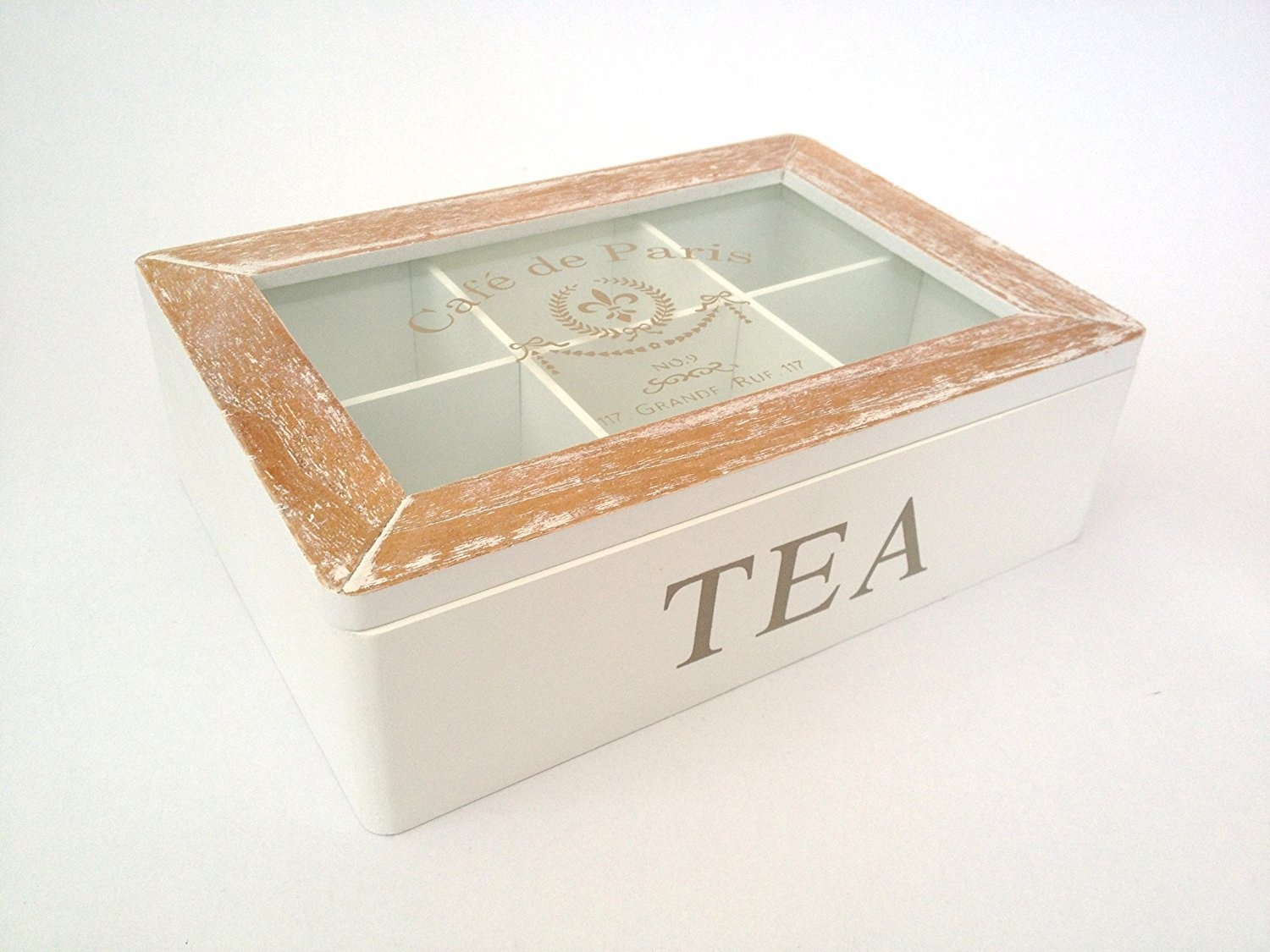 French Tea Box Storage 6 Six Compartments Wooden Distressed Vintage Style by Homes on Trend